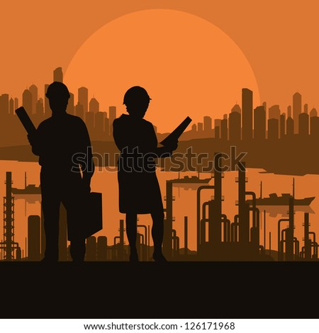 Engineer and construction site manager watching building process in industrial illustration background vector