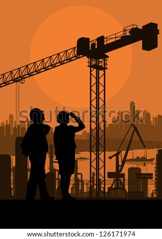 Engineer and construction site manager watching building process in industrial illustration background vector - stock vector
