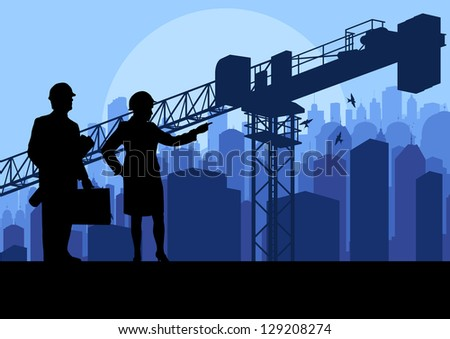 Engineer and construction site manager watching skyscraper building process in industrial crane illustration background vector - stock vector