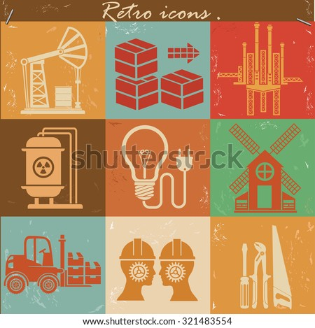 Engineer and industry concept icons,retro style,grunge vector - stock vector