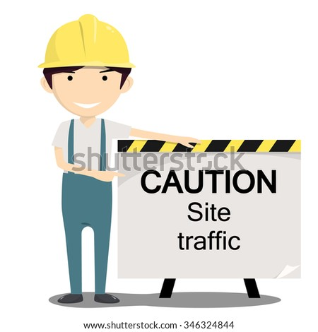 Engineer Announcing Caution Site Traffic