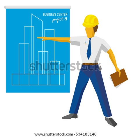 Engineer builder in helmet show blueprint with project. Architect with papers in hand giving presentation of new business center. Flat vector clip art on white background.