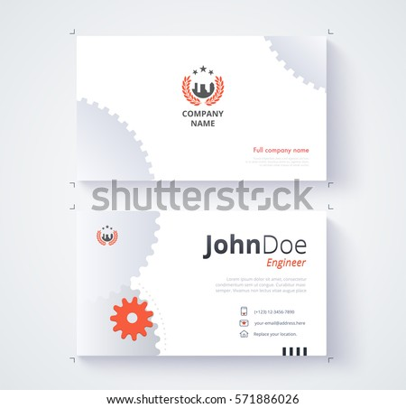 Engineer business card template gear background stock vector engineer business card template gear background reheart Images