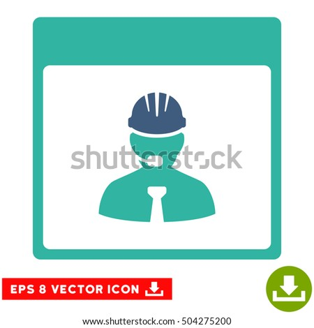 Engineer Calendar Day icon. Vector EPS illustration style is flat iconic bicolor symbol, cobalt and cyan colors.