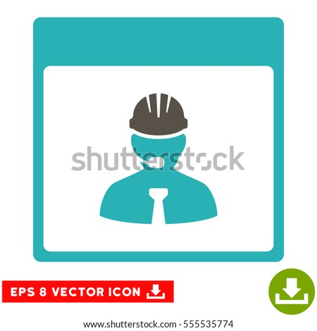 Engineer Calendar Day icon. Vector EPS illustration style is flat iconic bicolor symbol, grey and cyan colors.