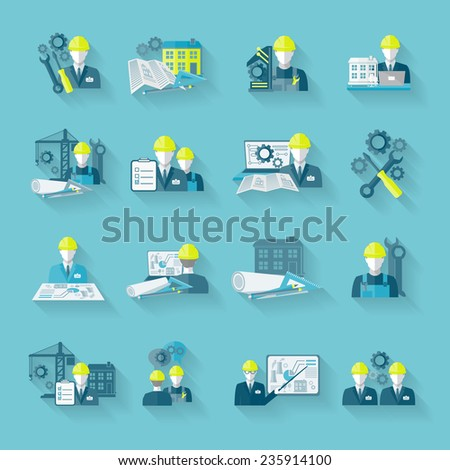 Engineer construction equipment industrial technician workers with fixing tools and gears icons set isolated vector illustration - stock vector