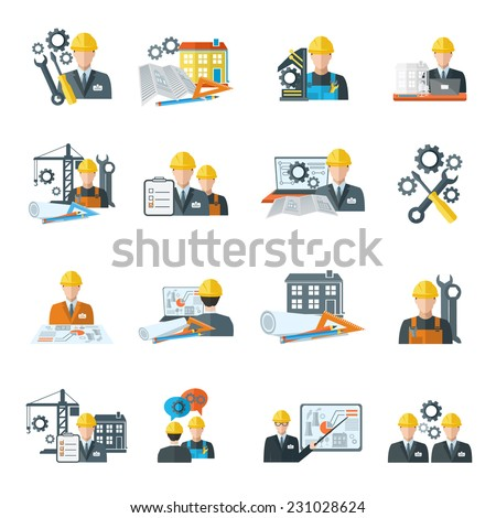 Engineer construction equipment machine operator managing and manufacturing icons flat set isolated vector illustration - stock vector