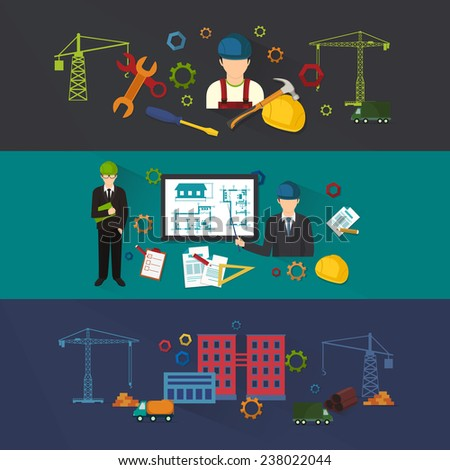 Engineer construction industrial factory manufacturing workers - stock vector