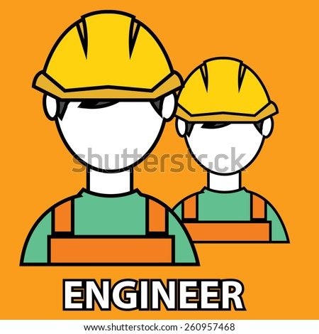 Engineer construction manufacturing worker flat design. - stock vector