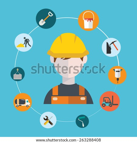 Engineer construction manufacturing worker illustration. - stock vector