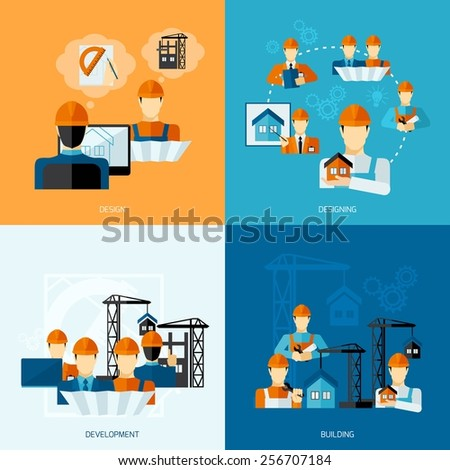 Engineer design concept set with development and building flat icons isolated vector illustration - stock vector