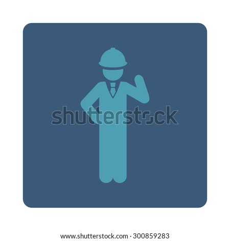 Engineer icon. Vector style is cyan and blue colors, flat rounded square button on a white background.