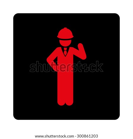 Engineer icon. Vector style is intensive red and black colors, flat rounded square button on a white background.
