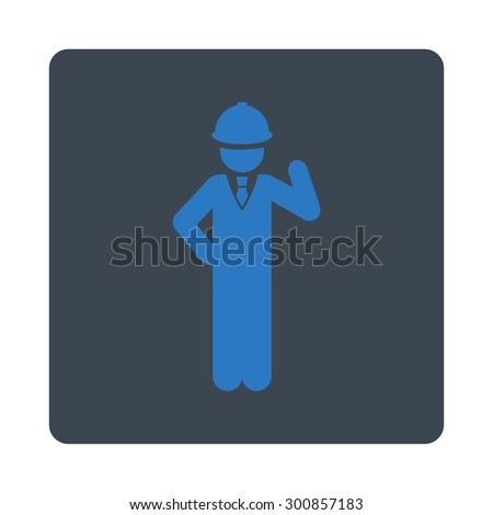 Engineer icon. Vector style is smooth blue colors, flat rounded square button on a white background.
