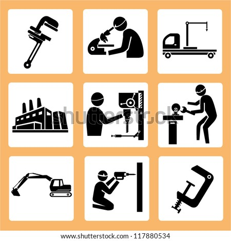 engineer in a construction site, manufacturing set, icon set, industry - stock vector