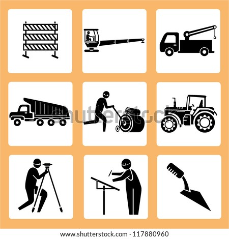 engineer in a construction site, manufacturing set, workshop icon set - stock vector