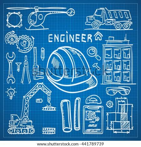 Engineer sketch icons on blueprint drawing stock vector 441789739 engineer sketch icons on blueprint drawing style engineer icons set engineer icons vector malvernweather Choice Image
