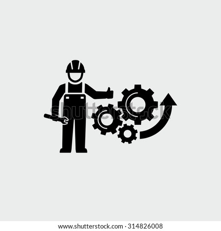 Engineer standing with wrench and giving thumb up Gears Cogs as a symbol work of mechanism Vector Icon  - stock vector