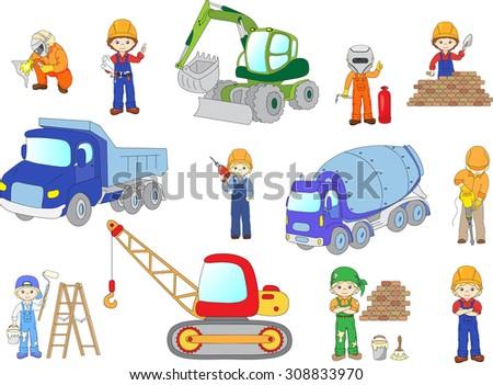 Engineer, technician, painter, welder and labor worker working on a construction. Cartoon bulldozer, concrete mixer, truck, excavator and tractor set. Vector illustration - stock vector