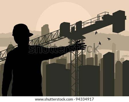 Engineer watching building process in city vector background - stock vector