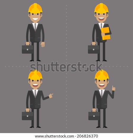 Engineer with briefcase in different poses - stock vector