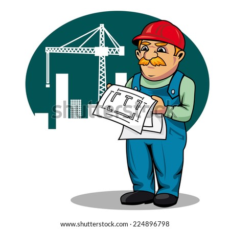 Engineer with building scheme on construction site in cartoon style - stock vector