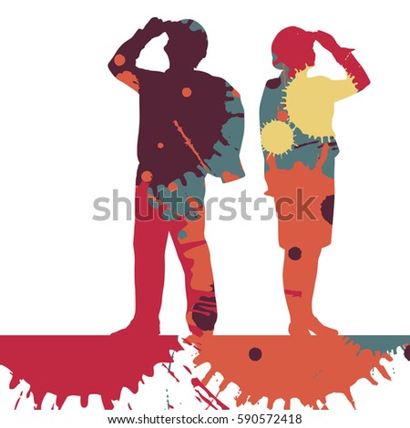 Engineer women detailed construction site worker silhouettes illustration mosaic color paint splashes background vector