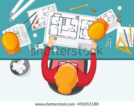 Engineering And Architecture Design Flat Style Technical Drawing Mechanical Engineering Building Construction