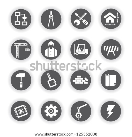 engineering and construction icon set - stock vector