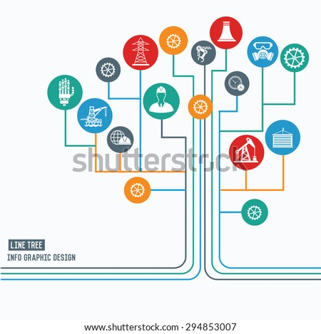 Engineering and industry concept,Line tree info graphic design,clean vector
