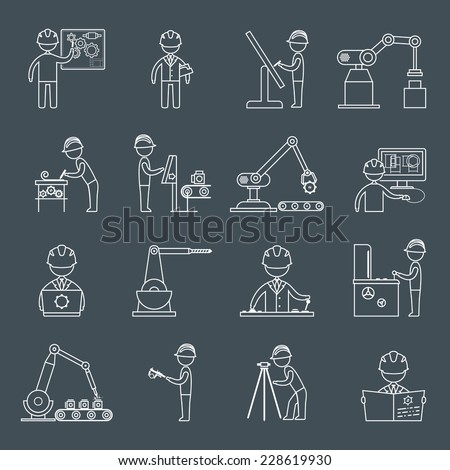 Engineering equipment construction workers technician in workshop outline icons set isolated vector illustration - stock vector