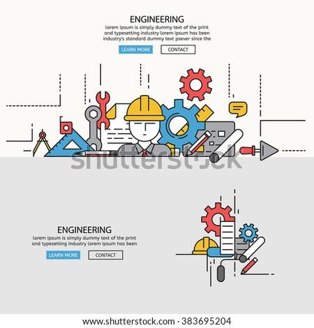 Engineering for website banner and landing page , Flat line design for website element , eps10 vector format - stock vector