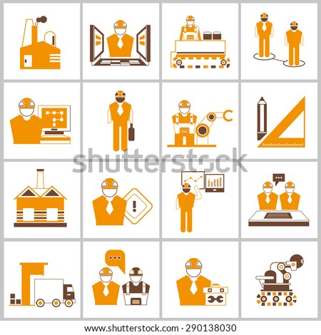 engineering icons set, engineering project management icons, orange theme - stock vector