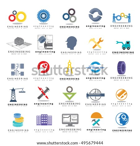 Engineering Icons Set, Isolated On White Background,  Vector Illustration, Graphic Design. For Web, Websites, Print, Presentation Templates, App, Mobile Applications And Promotional Materials