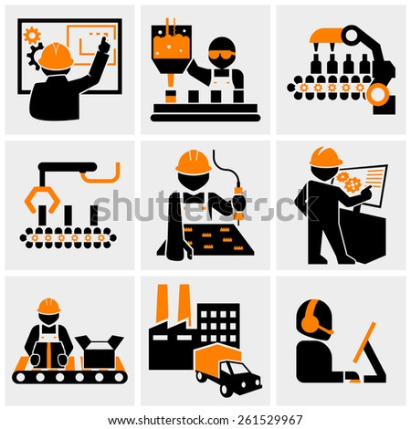 Engineering, Industrial workers  vector icons set on gray