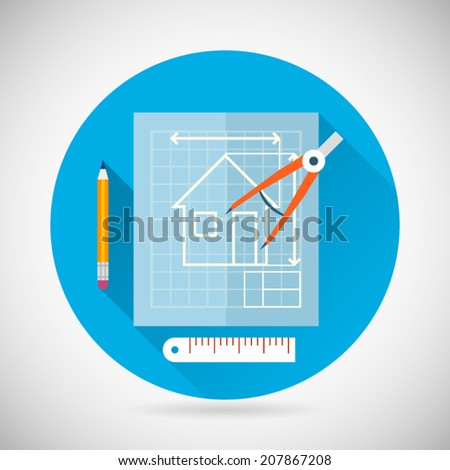 Engineering Planning Symbol Blueprint and Compass Divider Icon on Stylish Background Modern Flat Design Vector Illustration - stock vector