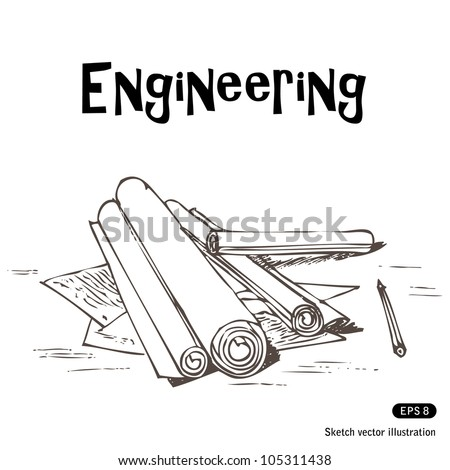 Engineering projects. Hand drawn sketch illustration isolated on white background - stock vector