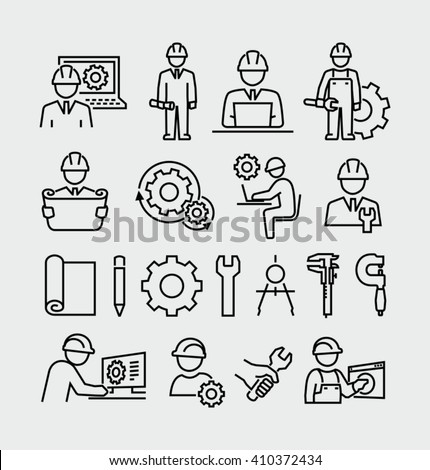 Engineering vector icons set  - stock vector