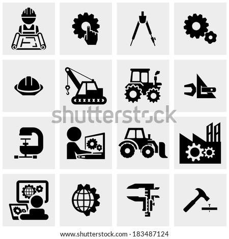 Engineering vector icons set on gray  - stock vector