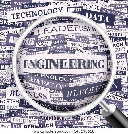 ENGINEERING. Word cloud concept illustration. Graphic tag collection. Wordcloud collage with related tags and terms.  - stock vector