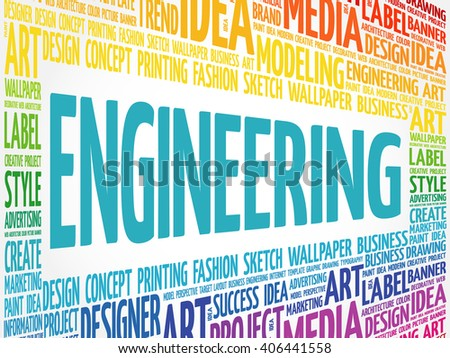 Engineering word cloud, creative business concept background - stock vector