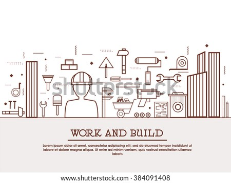 Engineering work tools, building equipment objects, professional repairing service concepts  web banner, hero image, website slider. Line art vector illustration. - stock vector