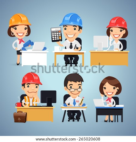 Engineers Cartoon Characters at the Table Set. In the EPS file, each element is grouped separately. - stock vector