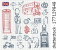 England doodle set, Sketchy illustration hand drawn, vector object isolated, London object - stock vector