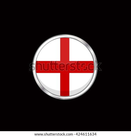 England flag isolated on black background. English flag button in silver ring. Euro cup 2016 France. England participant, group B. Euro 2016 football championship. Eurocup, euro cup. Fifa world cup - stock vector