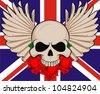 England flower wing skull - stock vector