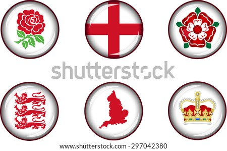 England Glossy Icon Set. Set of vector glossy icons representing national symbols of England. - stock vector