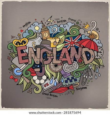 England hand lettering and doodles elements background. Vector illustration