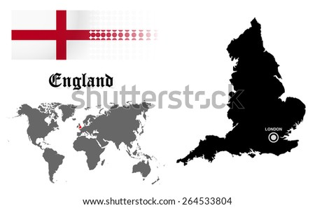 England info graphic with flag , location in world map, Map and the capital ,London, location.(EPS10 Separate part by part) - stock vector