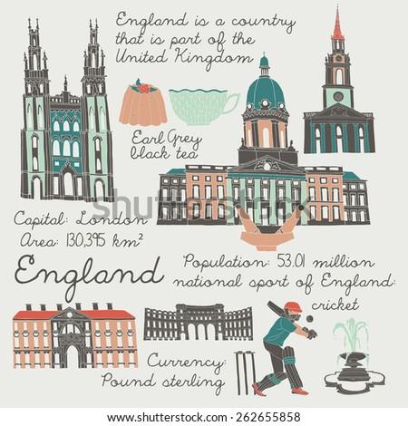 England, landmarks and symbols set - stock vector